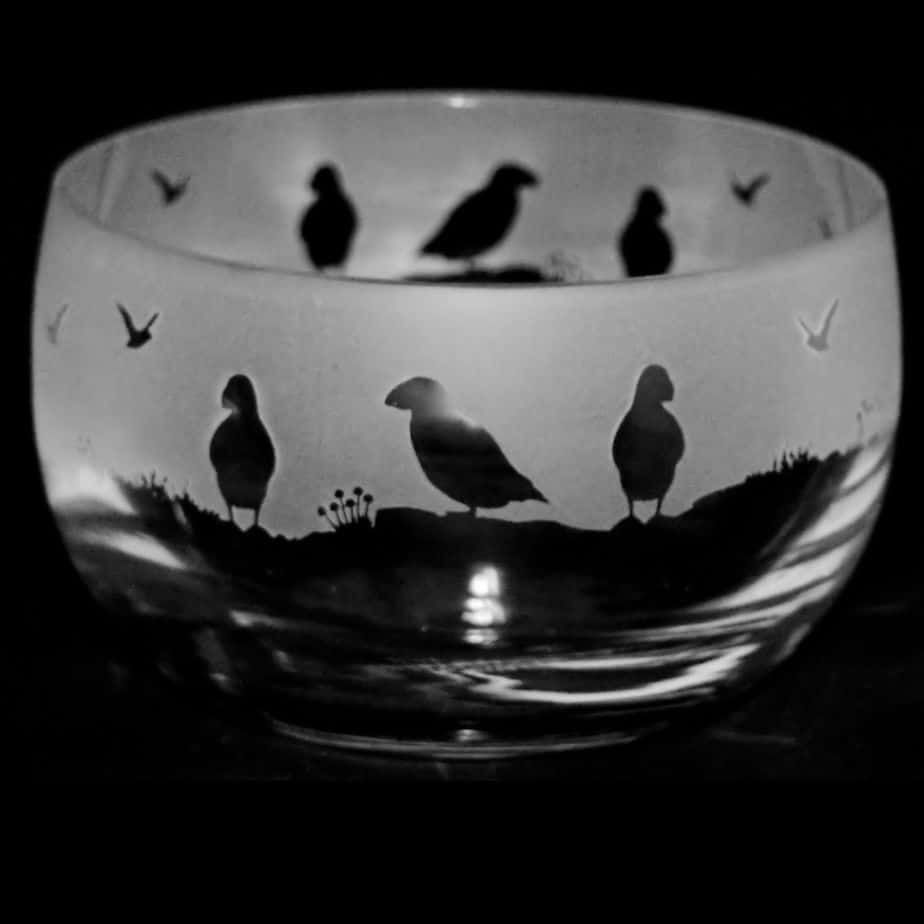 PUFFIN Small Crystal Glass Bowl