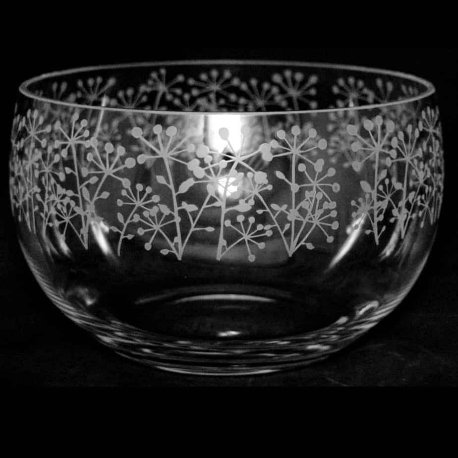 COW PARSLEY Medium Crystal Glass Bowl
