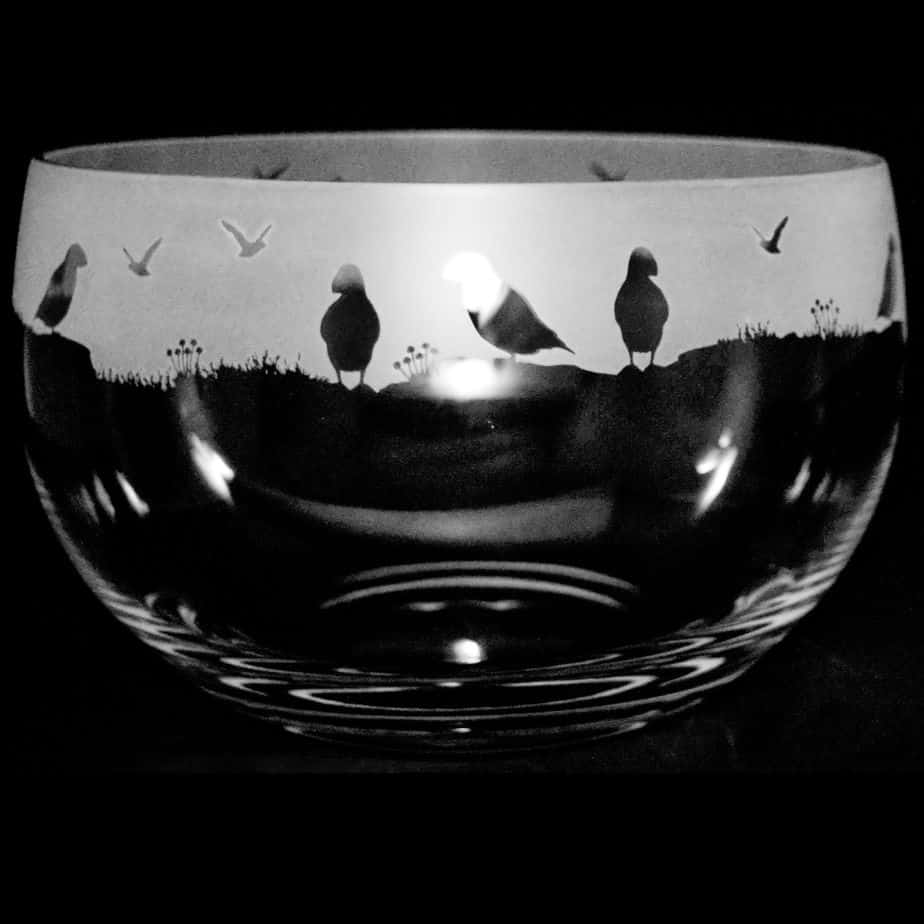 PUFFIN Large Crystal Glass Bowl