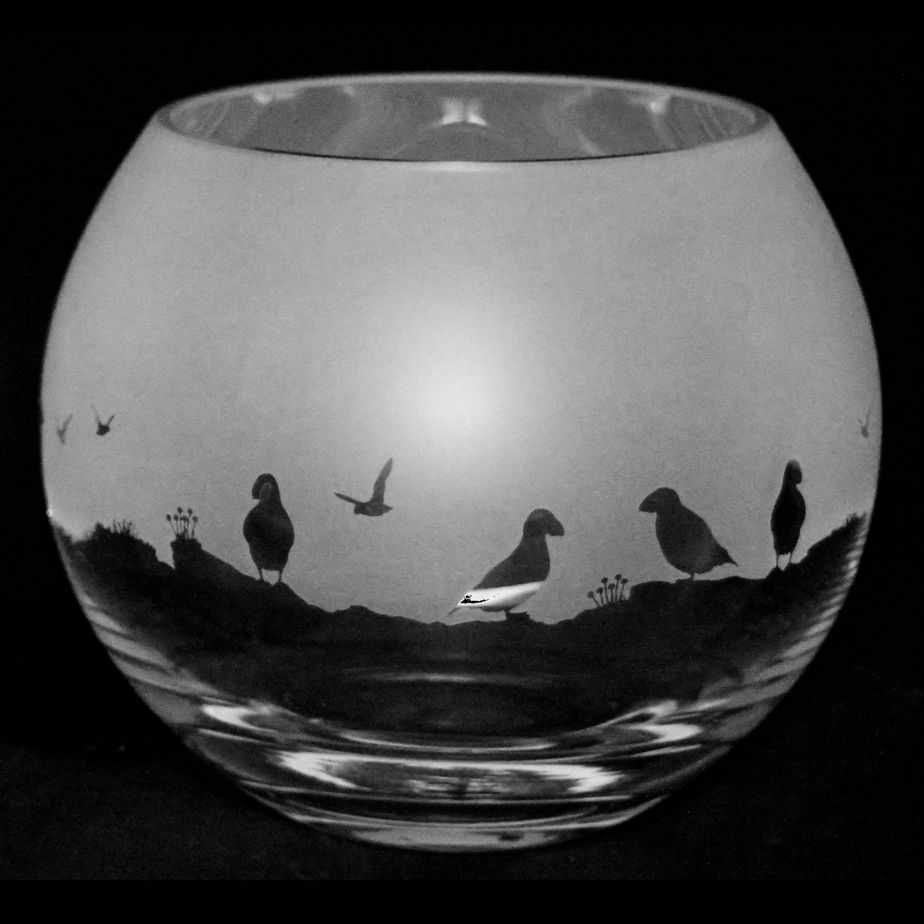 PUFFIN Small Crystal Glass Globe Vase