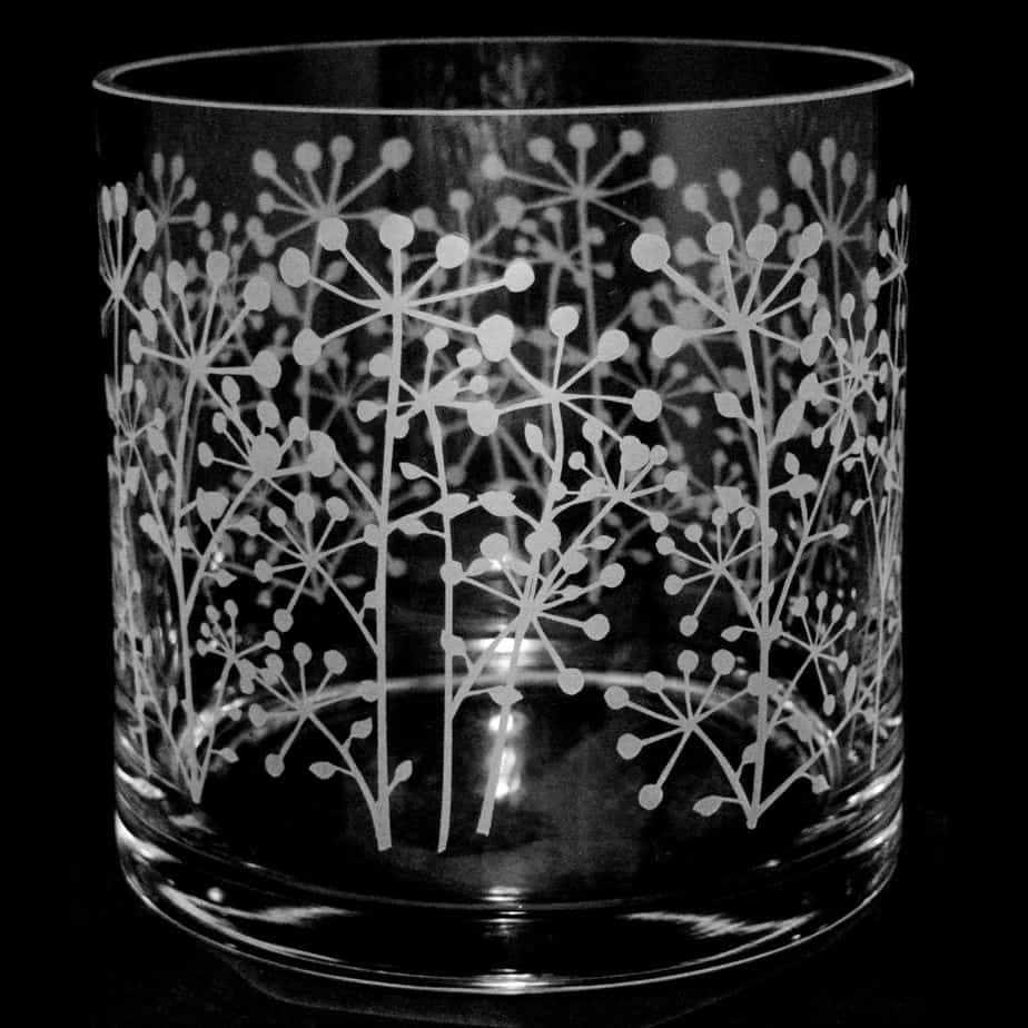 COW PARSLEY 17cm Glass Column Vase / Candleholder