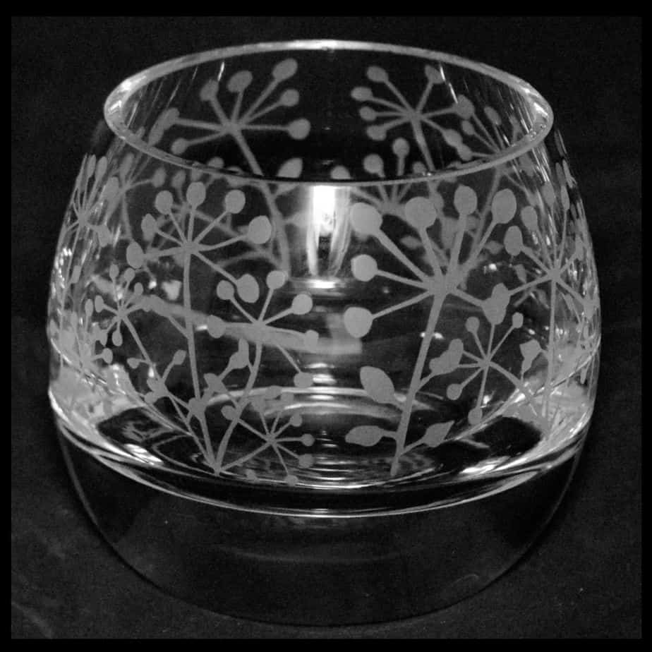 COW PARSLEY Crystal Glass Tea Light Holder