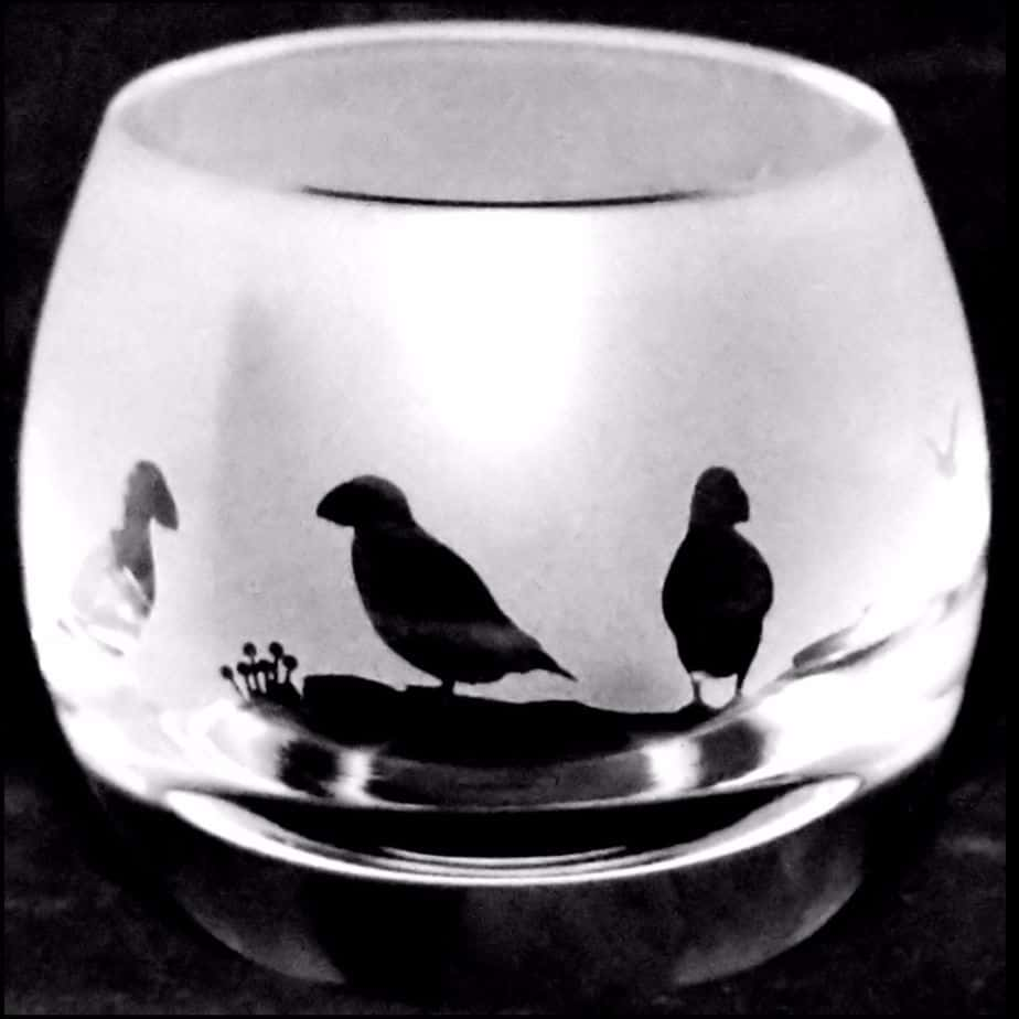PUFFIN Crystal Glass Tea Light Holder
