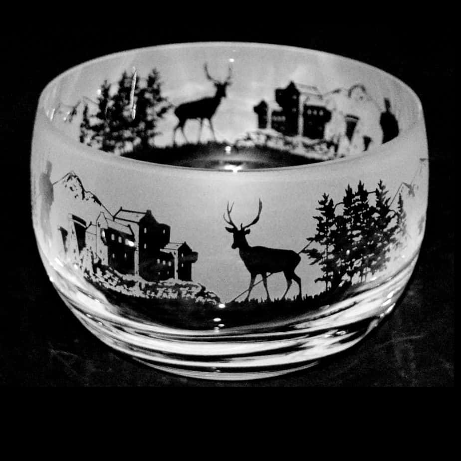 SCOTTISH SCENE Small Crystal Glass Bowl