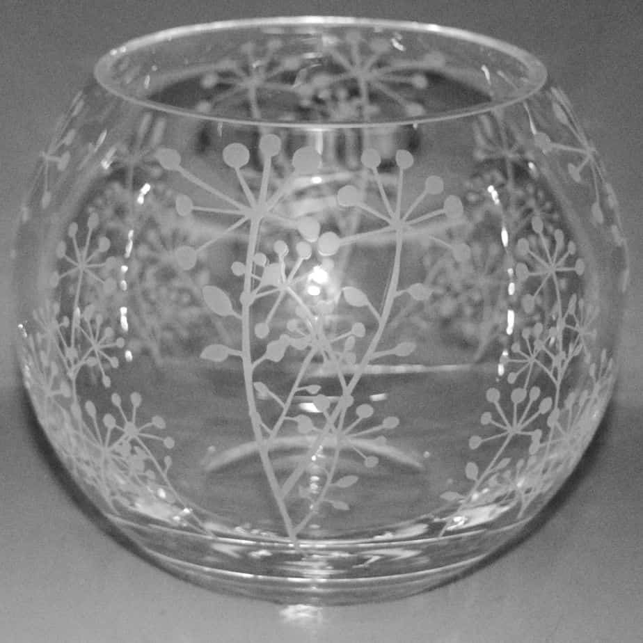 COW PARSLEY Small Crystal Glass Globe Vase