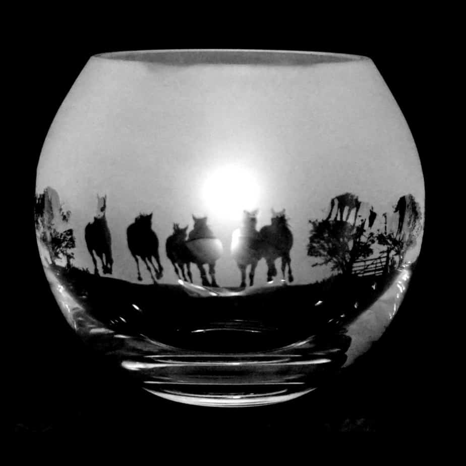 NEW FOREST PONY Small Crystal Glass Globe Vase