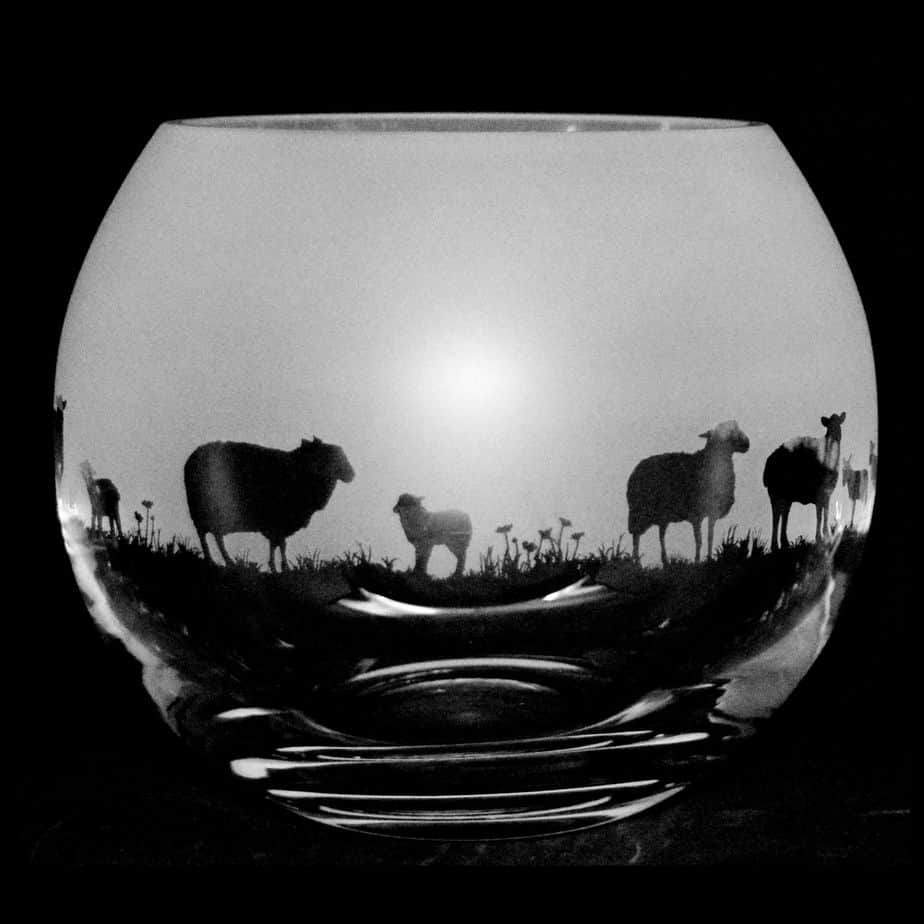 SHEEP Small Crystal Glass Globe Vase