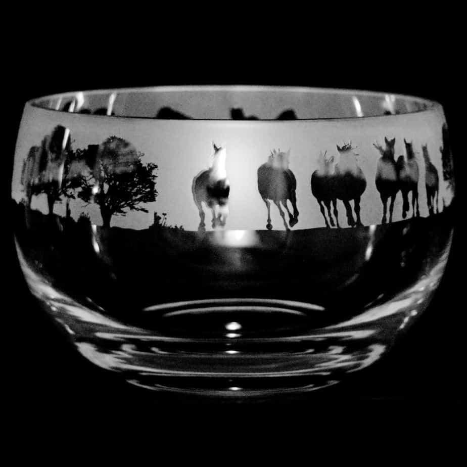 NEW FOREST PONY Medium Crystal Glass Bowl