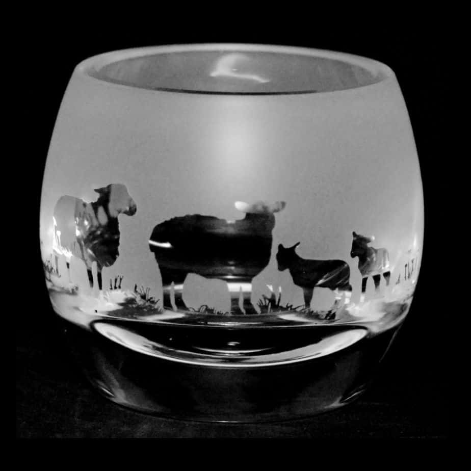 SHEEP Crystal Glass Tea Light Holder