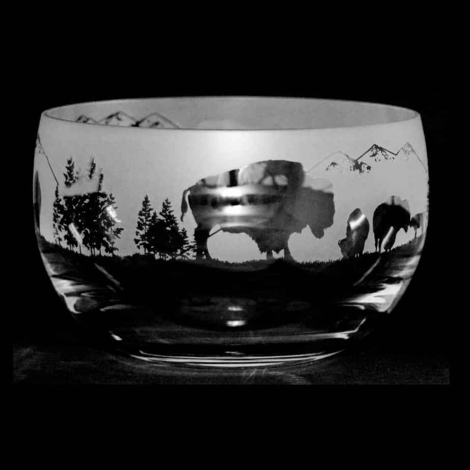 BUFFALO (BISON) Small Crystal Glass Bowl
