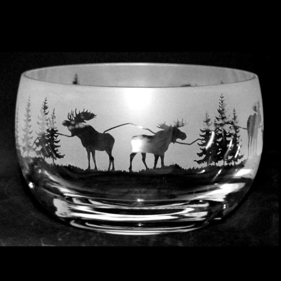 MOOSE SCENE Small Crystal Glass Bowl