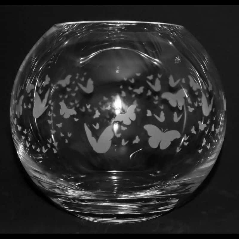 FLUTTERBY Small Crystal Glass Globe Vase