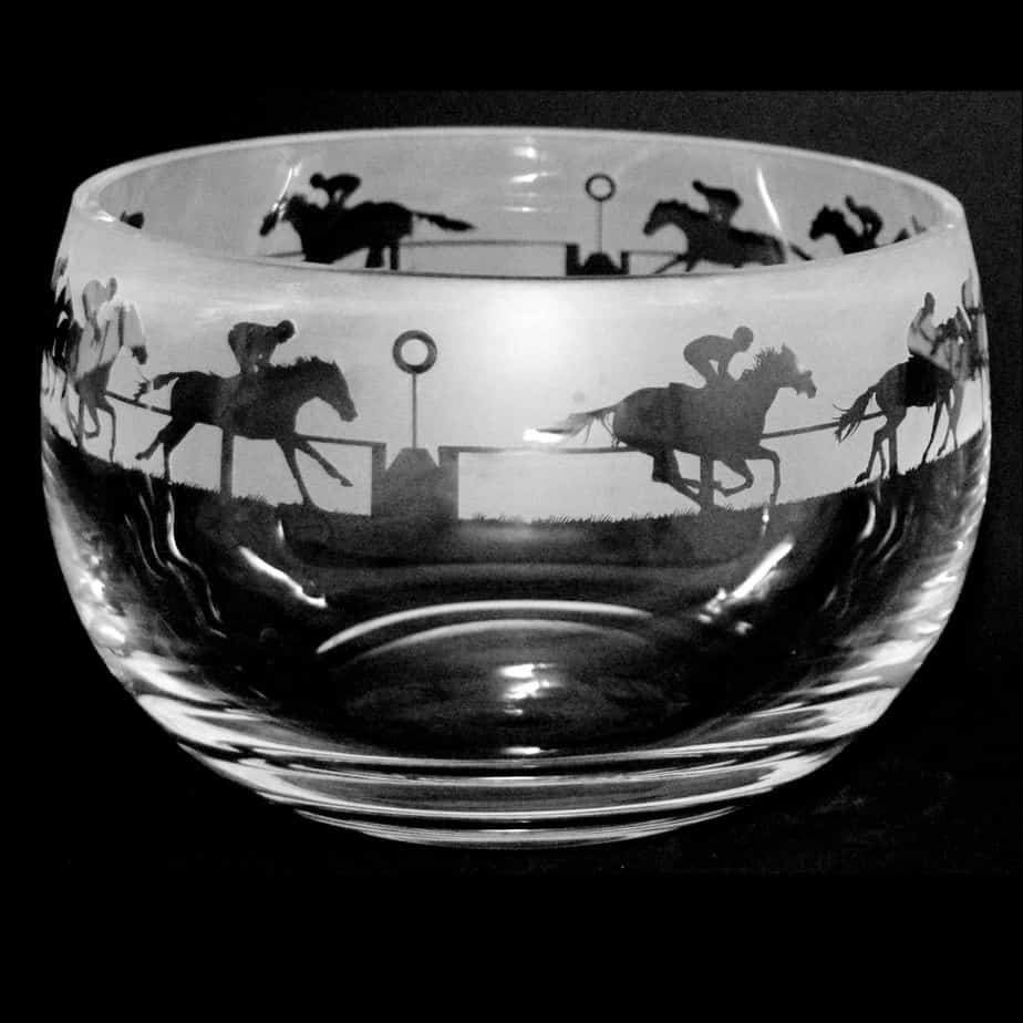 AT THE RACES Medium Crystal Glass Bowl