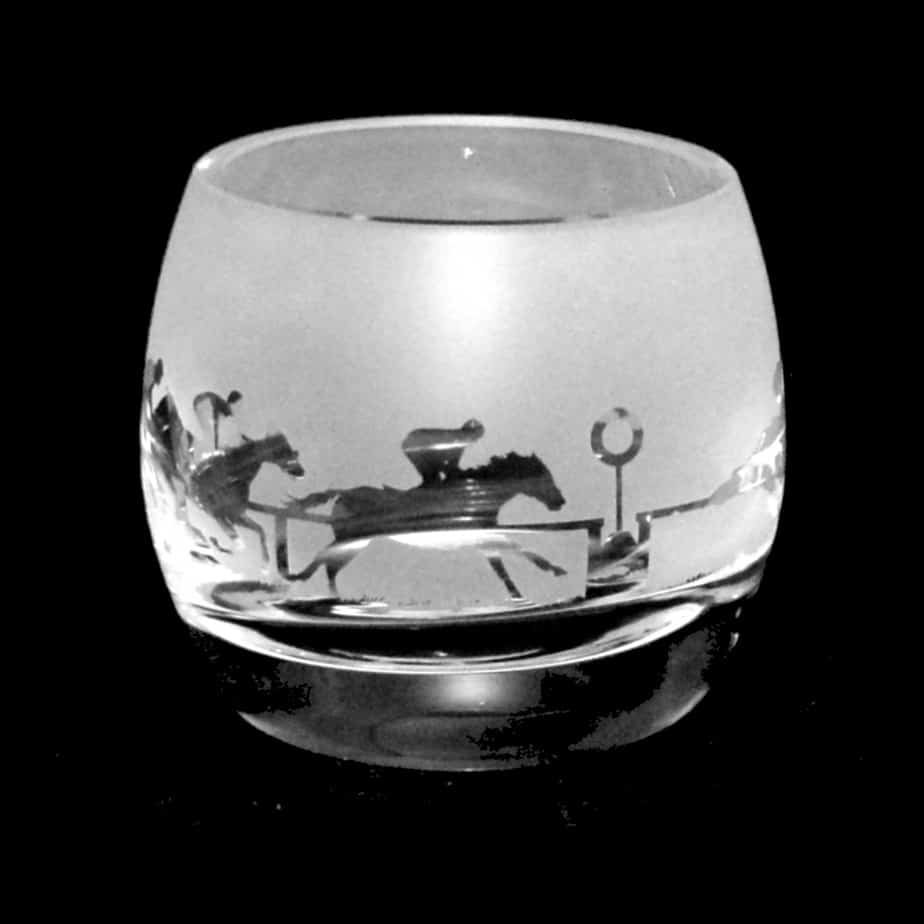 AT THE RACES Crystal Glass Tea Light Holder