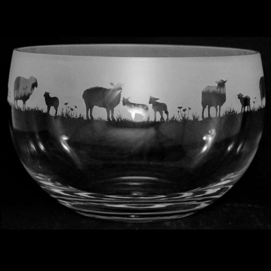 SHEEP Large Crystal Glass Bowl