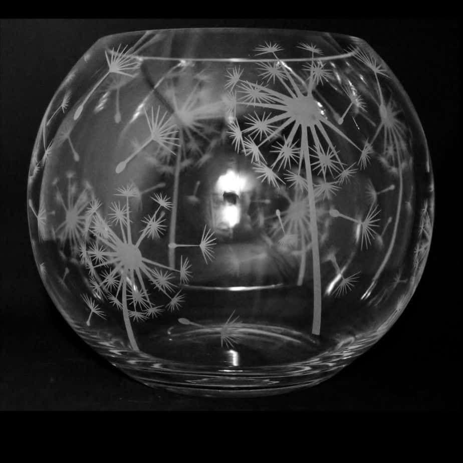 DANDELION Small Crystal Glass Globe Vase