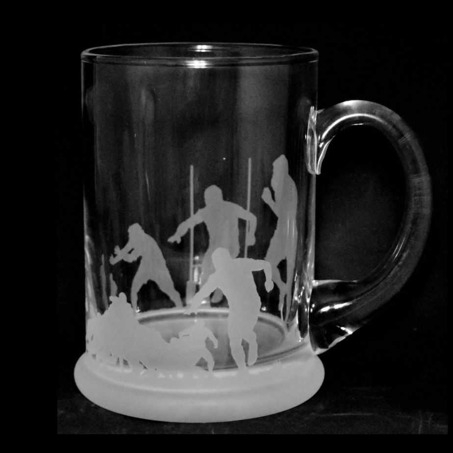 RUGBY SCENE Crystal Pint Tankard 57cl