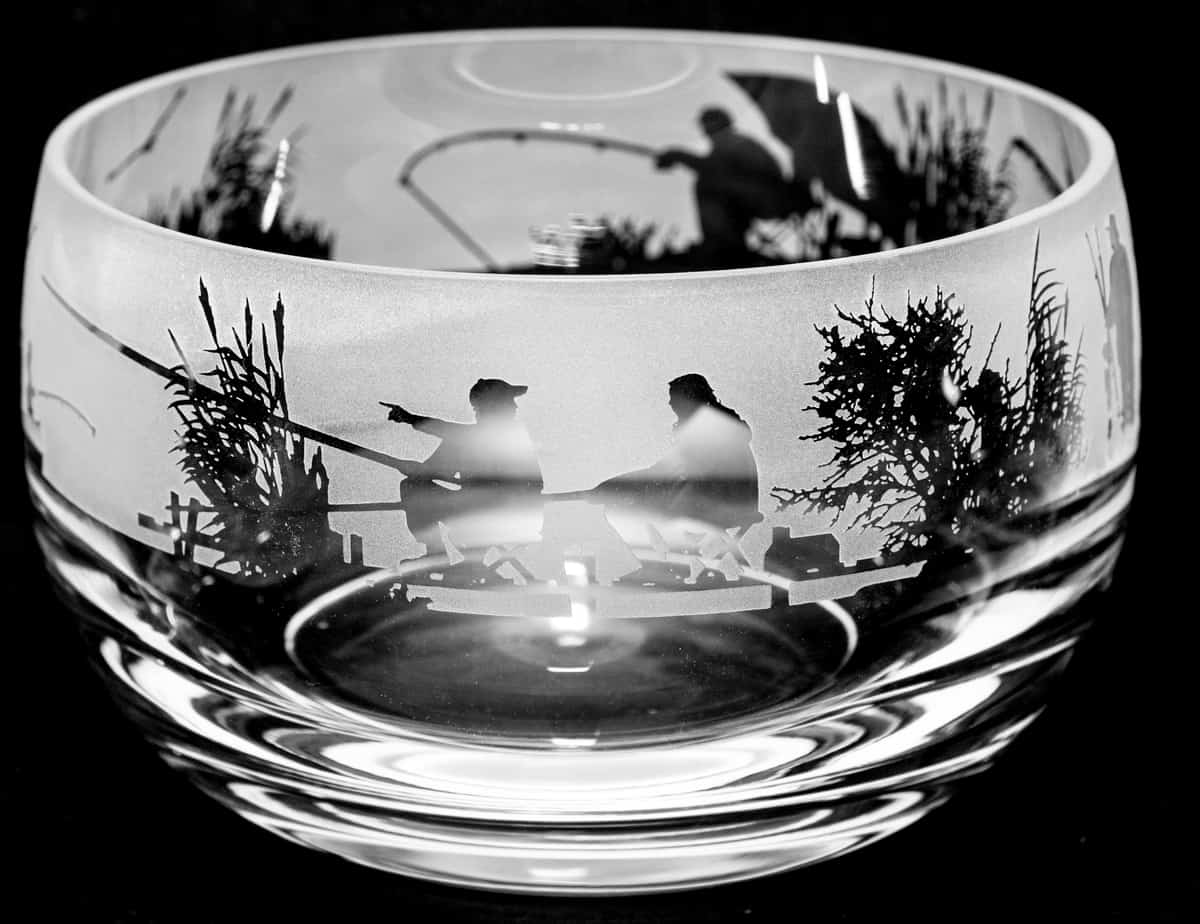 FISHING SCENE Small Crystal Glass Bowl