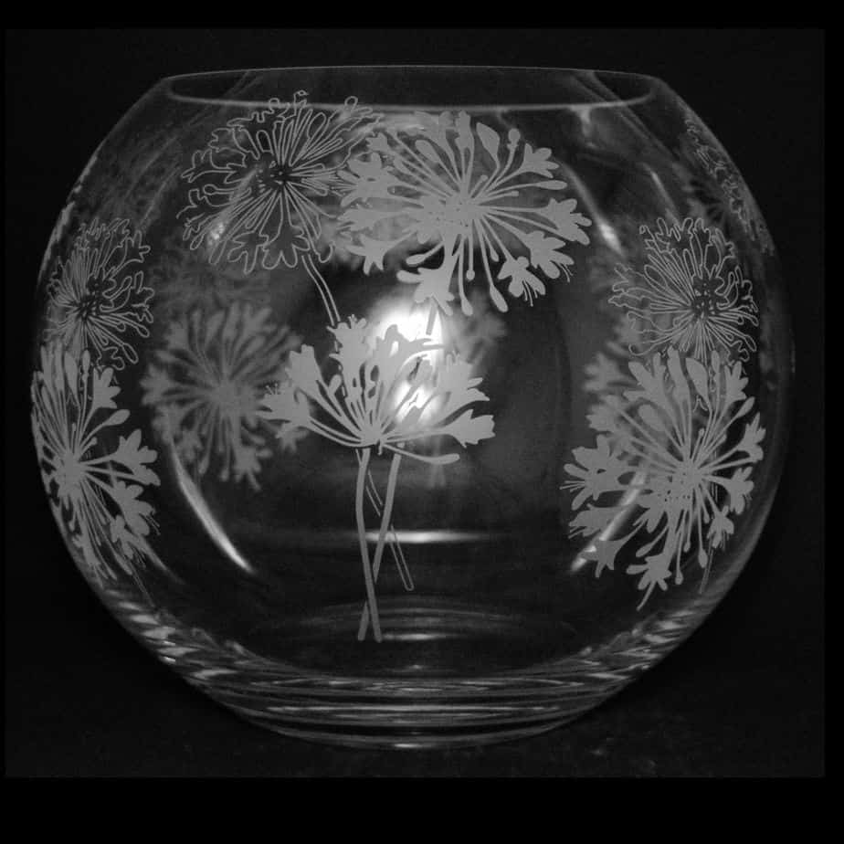 AGAPANTHUS Large Crystal Glass Globe Vase
