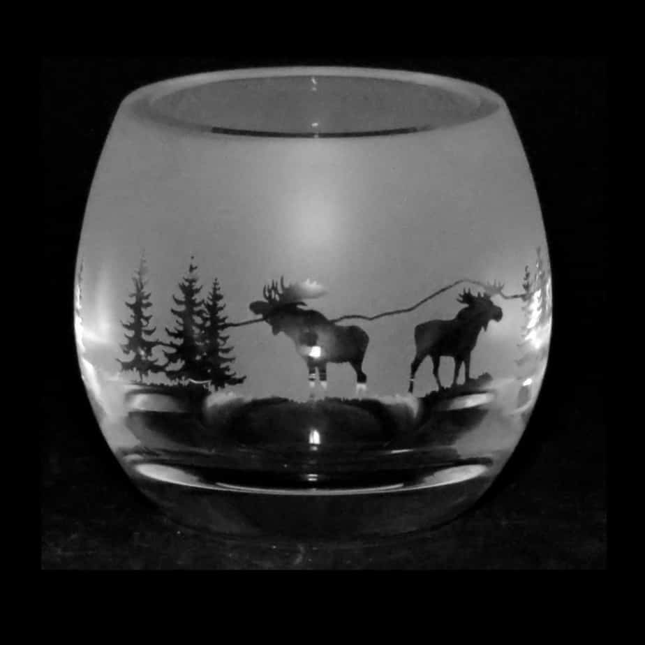MOOSE SCENE Crystal Glass Tea Light Holder