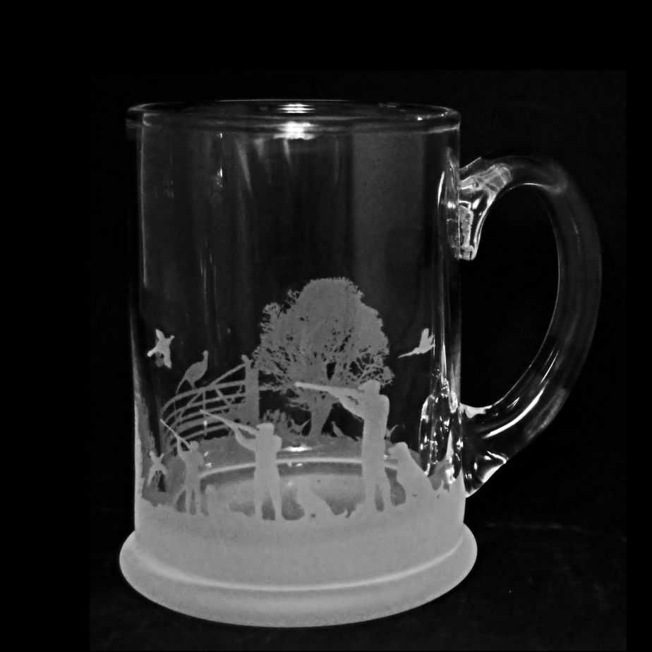 SHOOTING SCENE Crystal Pint Tankard 57cl