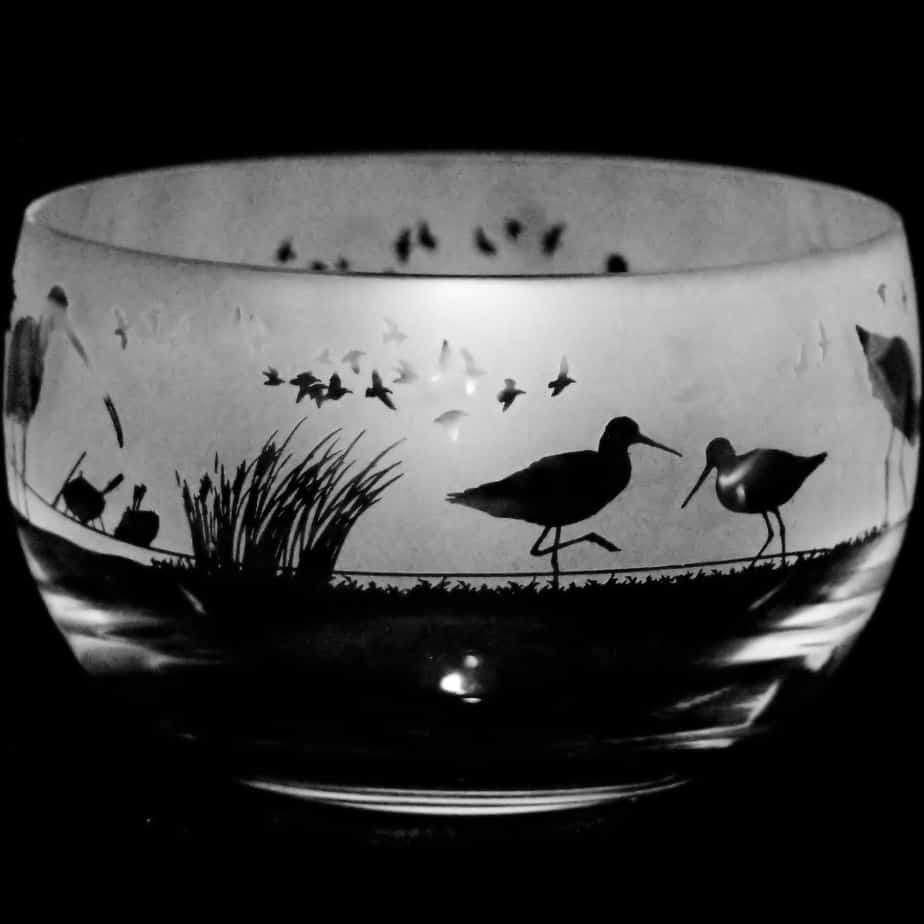 WADING BIRDS Small Crystal Glass Bowl