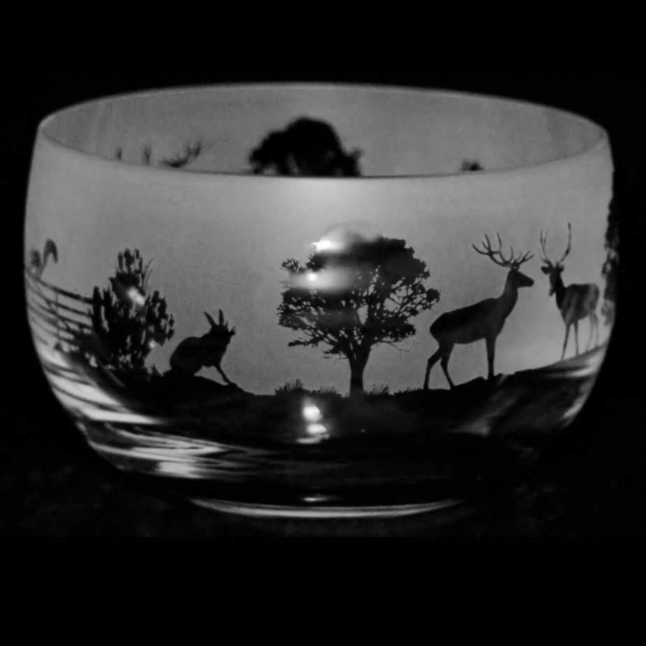 WOODLAND SCENE Small Crystal Glass Bowl
