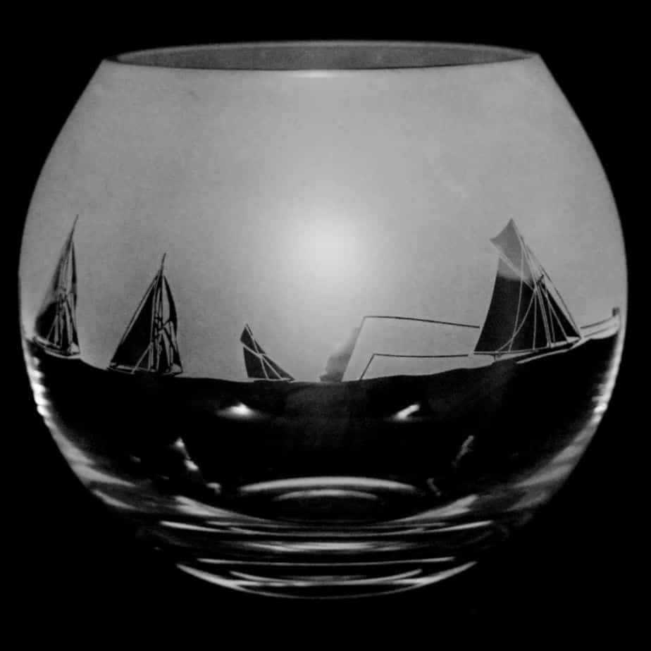 ALL AT SEA Large Crystal Glass Globe Vase