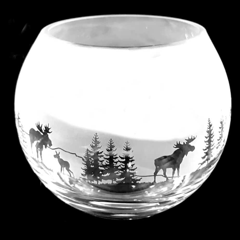 MOOSE SCENE Small Crystal Glass Globe Vase