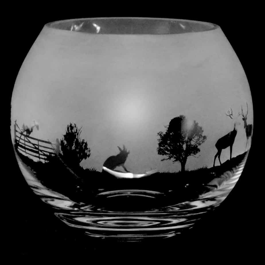 COUNTRY LIFE WOODLAND SCENE Large Crystal Glass Globe Vase