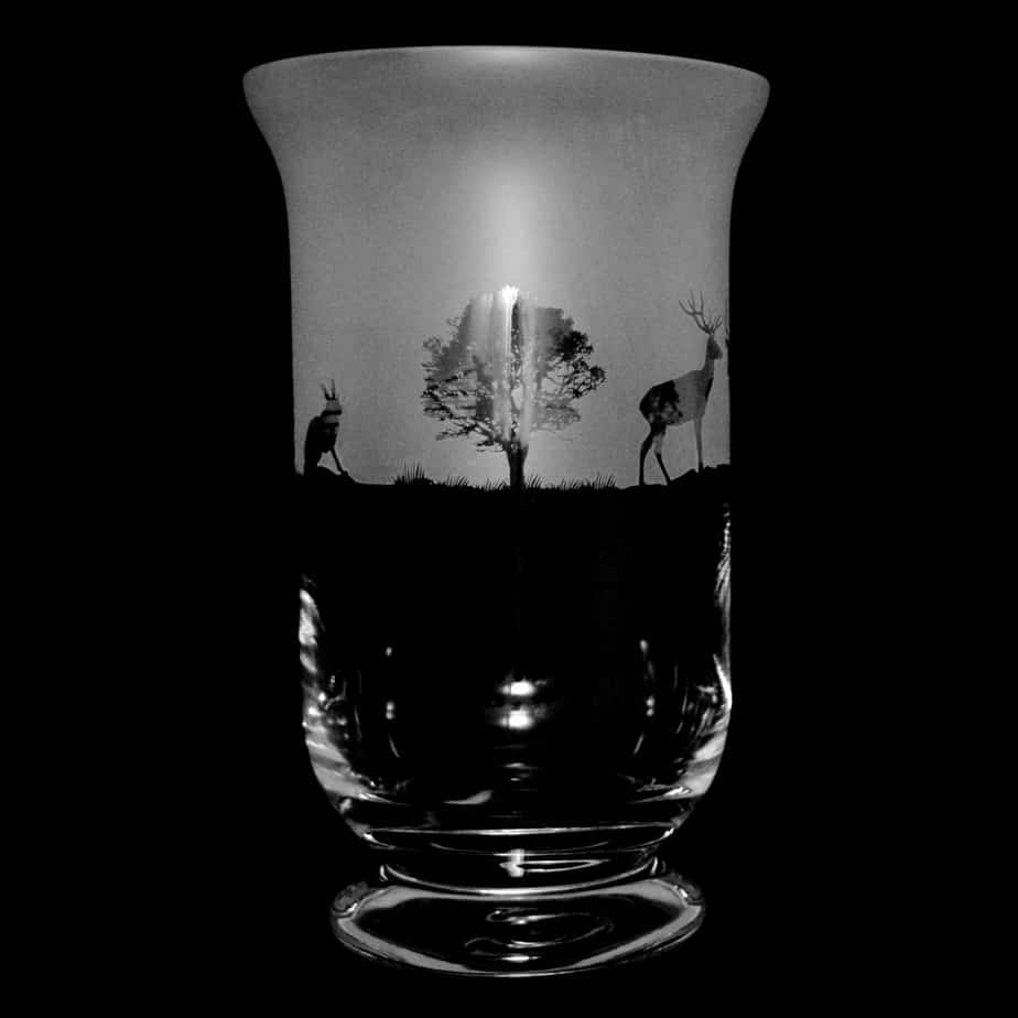 COUNTRY LIVING WOODLAND SCENE 23.5cm Crystal Glass Vase