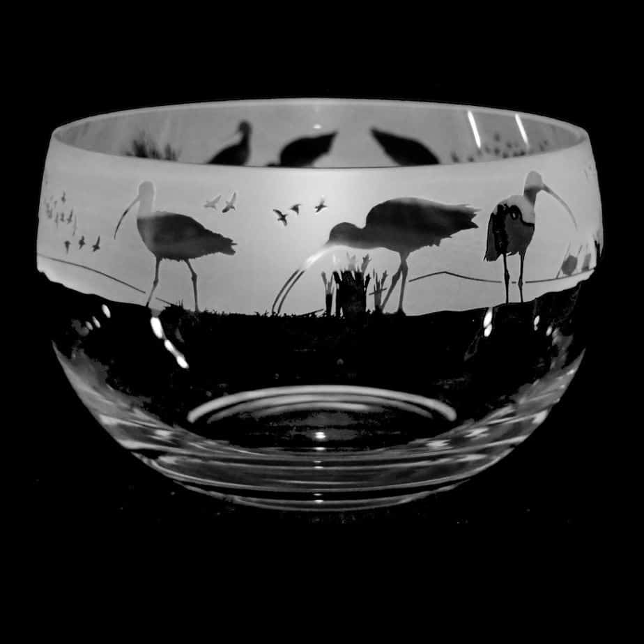 WADING BIRDS Large Crystal Glass Bowl