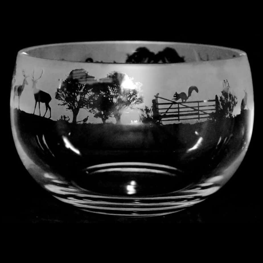 COUNTRY LIVING WOODLAND SCENE Large Crystal Glass Bowl