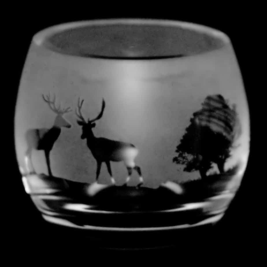 WOODLAND SCENE Crystal Glass Tea Light Holder