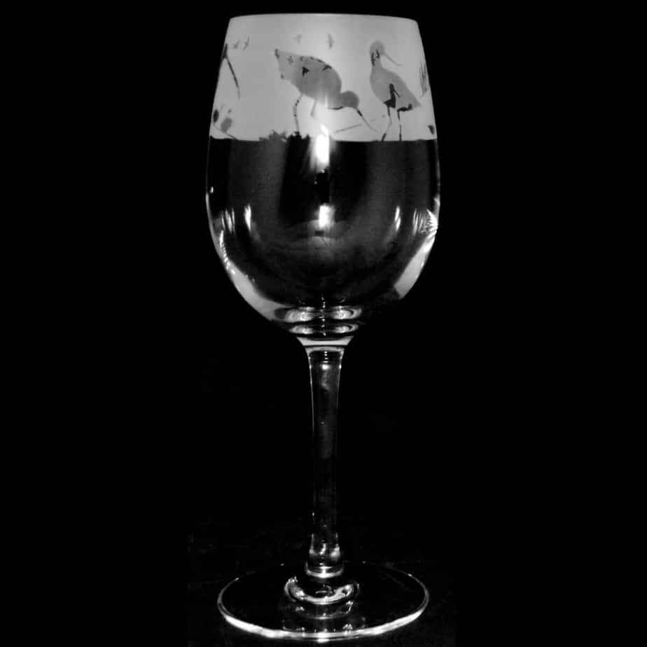 WADING BIRDS Crystal Wine Glass 35cl