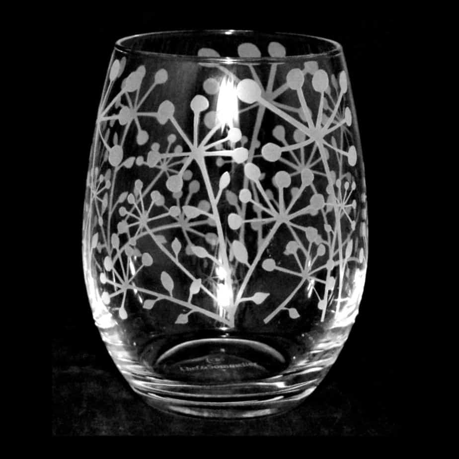 COW PARSLEY Stemless Wine/Water Glass 36cl