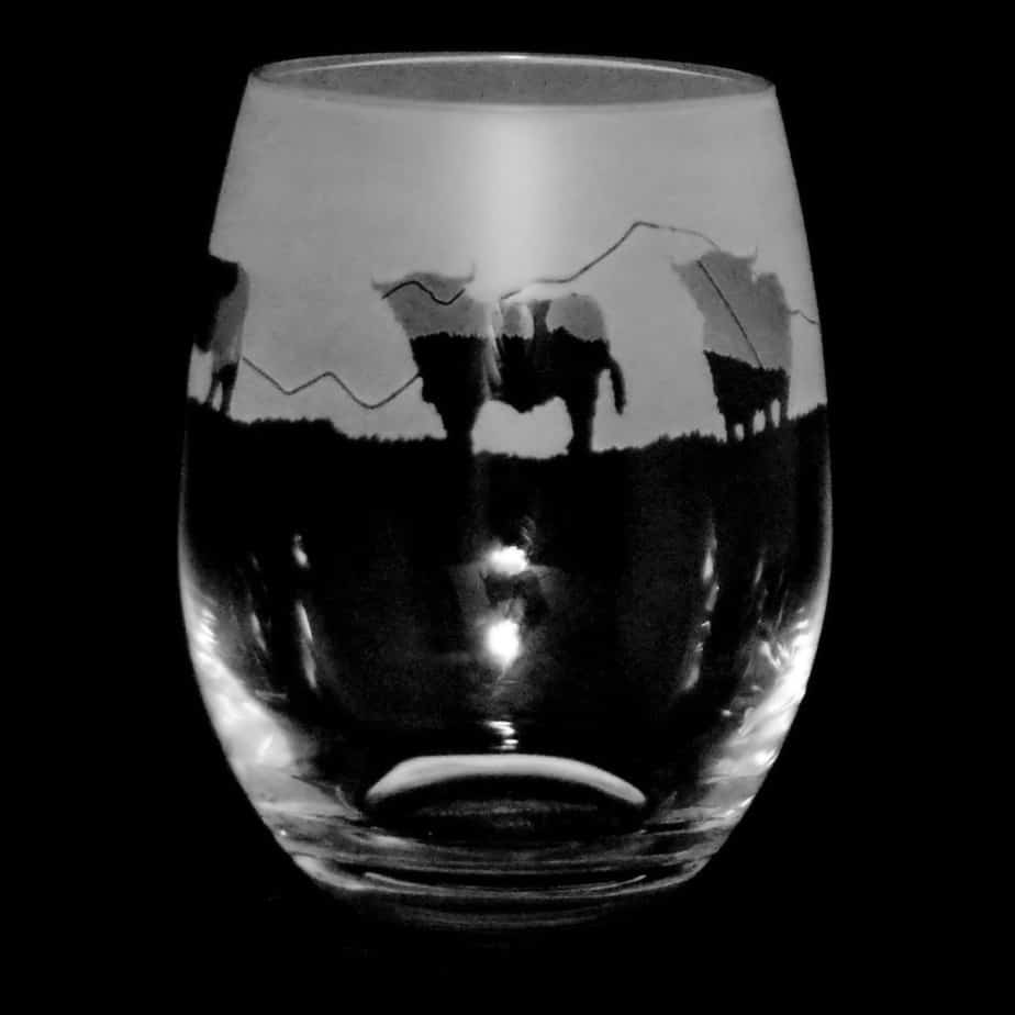 HIGHLAND CATTLE Stemless Wine/Water Glass 36cl