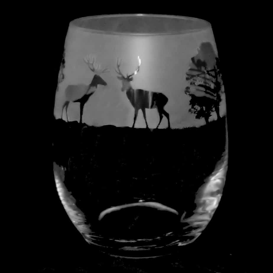 COUNTRY LIFE WOODLAND SCENE Stemless Wine/Water Glass 36cl