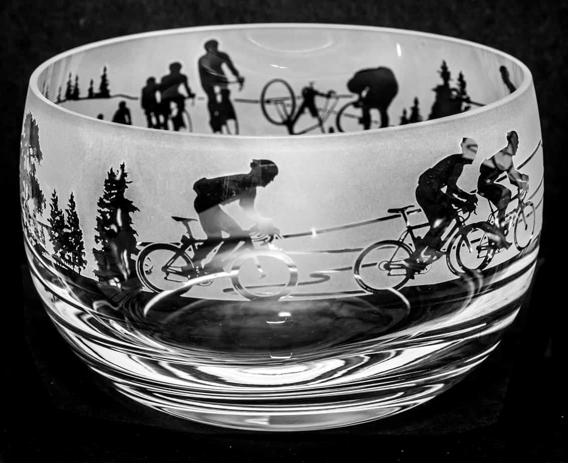 CYCLING SCENE Small Crystal Glass Bowl