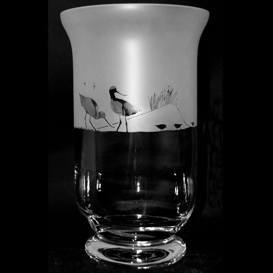 WADING BIRDS 23.5cm Crystal Glass Vase