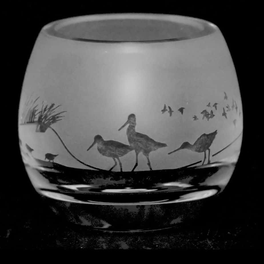 WADING BIRDS Crystal Glass Tea Light Holder