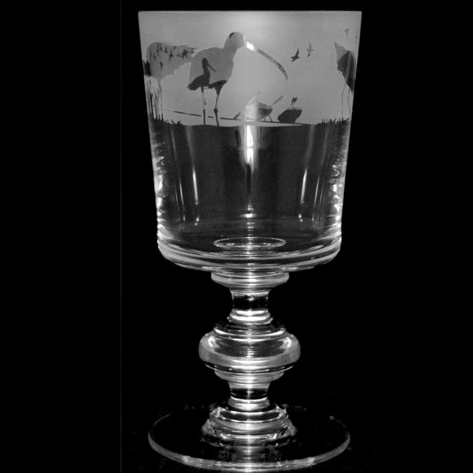 WADING BIRDS Crystal Chalice Goblet 30cl