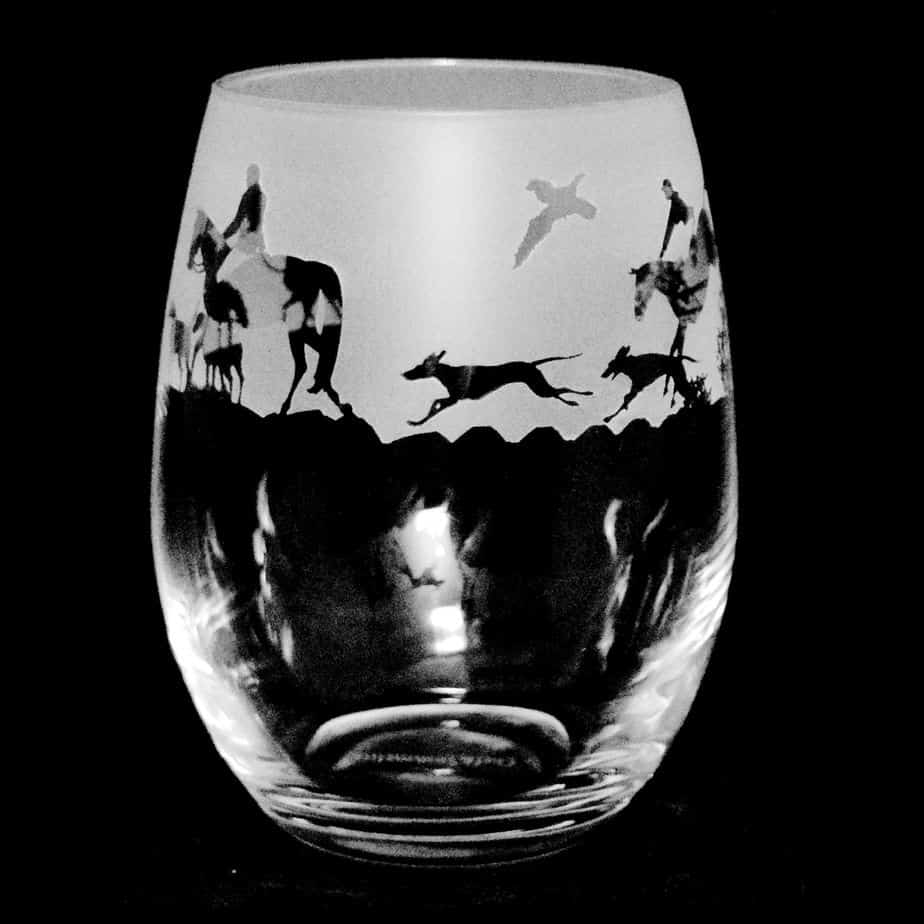 COUNTRY LIFE HUNTING SCENE Stemless Wine/Water Glass 36cl
