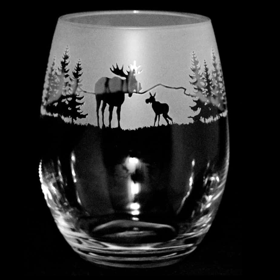 MOOSE SCENE Stemless Wine/Water Glass 36cl