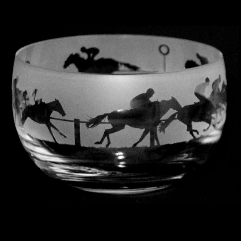 AT THE RACES Small Crystal Glass Bowl