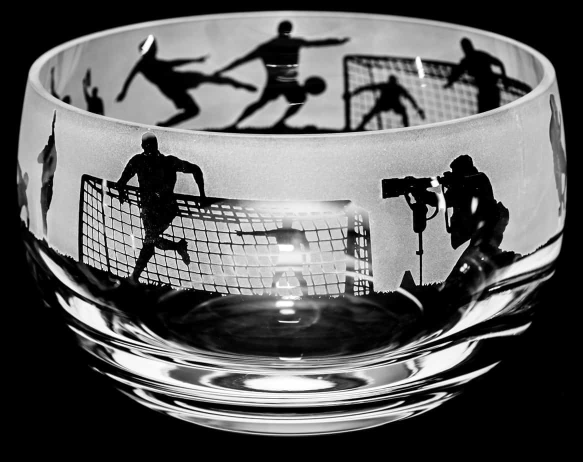FOOTBALL Small Crystal Glass Bowl