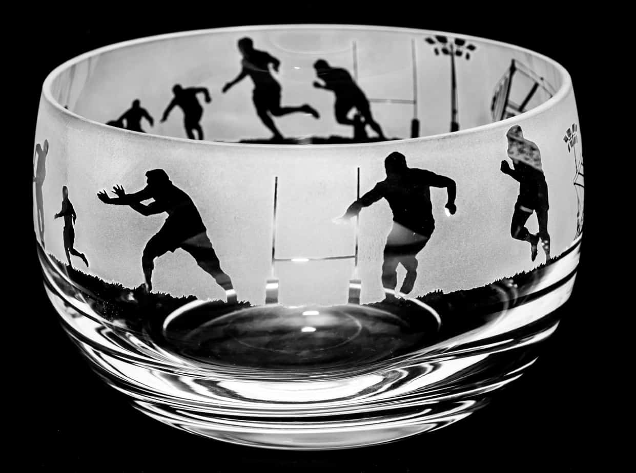 RUGBY Small Crystal Glass Bowl