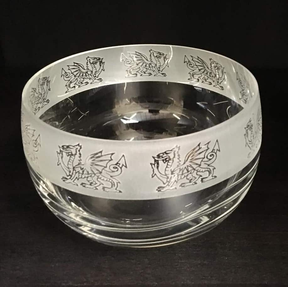 WELSH DRAGON Small Crystal Glass Bowl