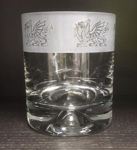 WELSH DRAGON FROSTED Whisky Tumbler