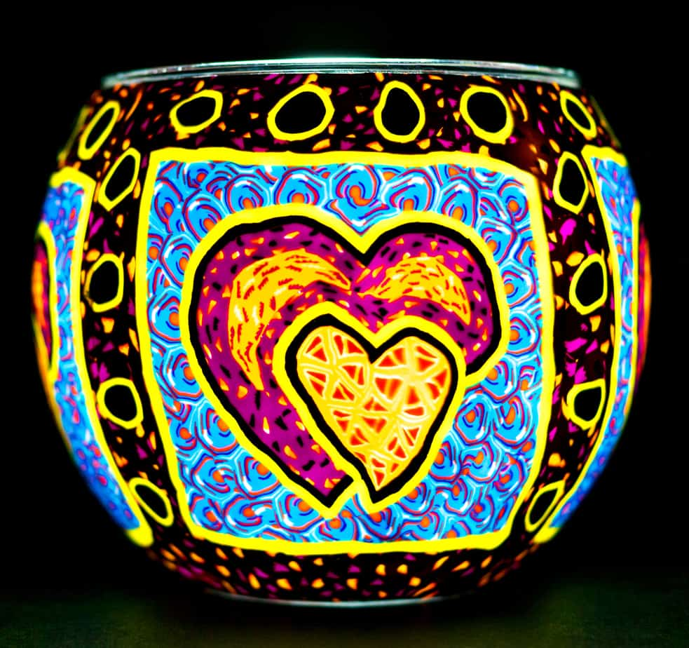 Pair Of Hearts Light Glass (165044)